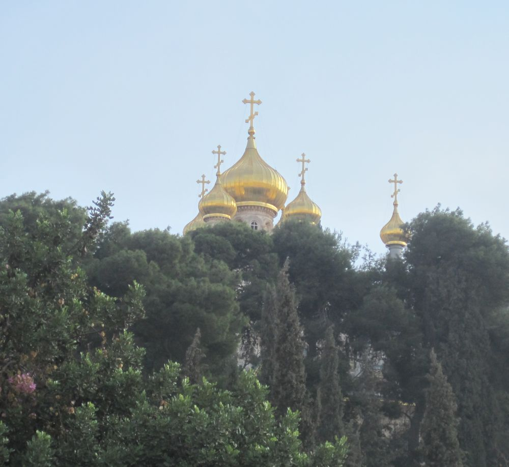 the golden domes of Church of St. Mary Magdalene