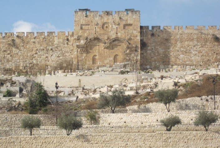 The golden gate in the wall of the old city of Jerusalem