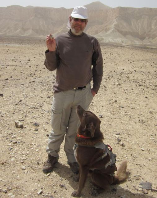 Don holding the Golan stone with Taffy in his harness and Hod Akev in the background