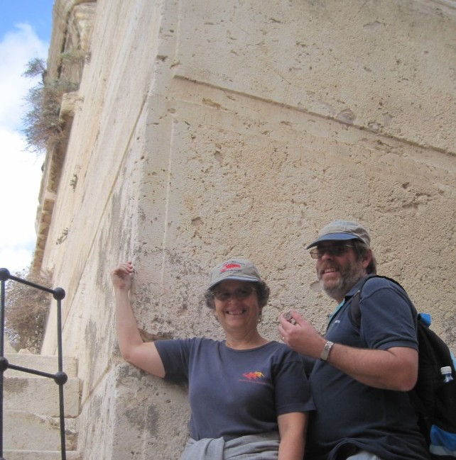 Diana and Don with the Golan Stone that they've now carried on foot from the Golan Heights to the Western Wall Jerusalem