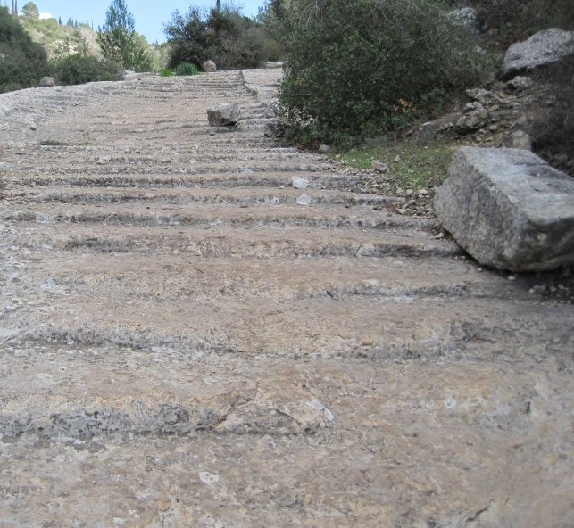 Steps carved out of rock on Caesar's road