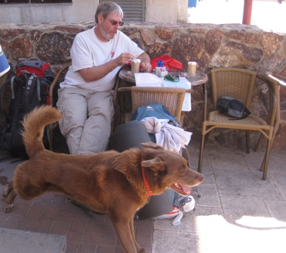 Don and Taffy at a cafe in Arad before staring the hike.