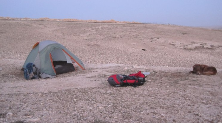 Camping spot with Tel Arad across the wadi