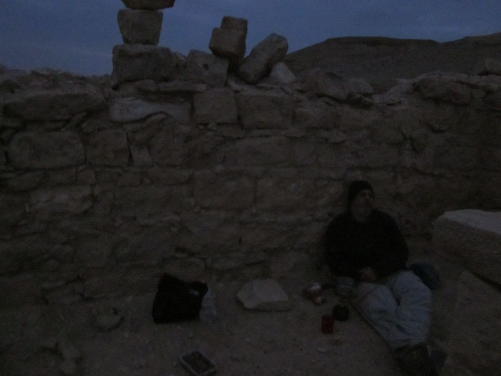 Don dozing after dinner inside Mahmal Fort ( מצד מחמל)