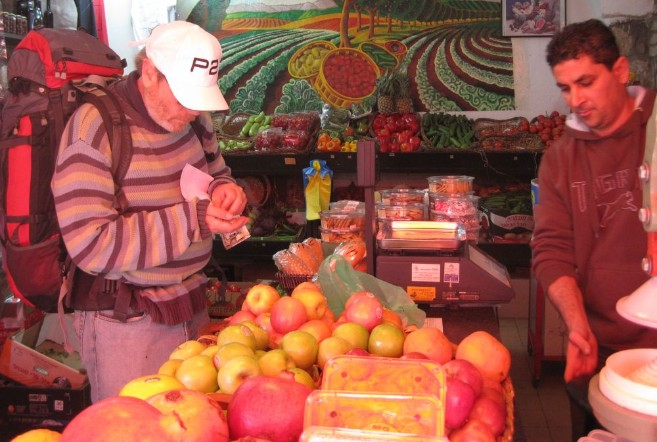 Don buying fruit in Ein Kerem