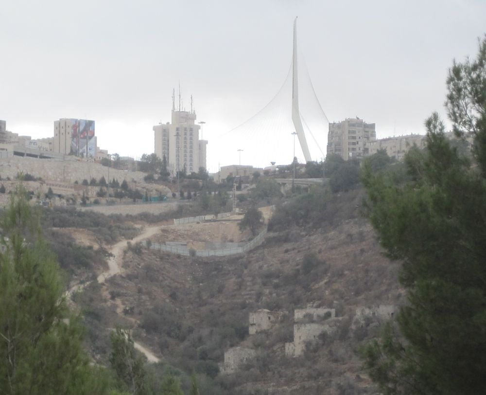 Cantilever string bridge with view of the way up to Jerusalem