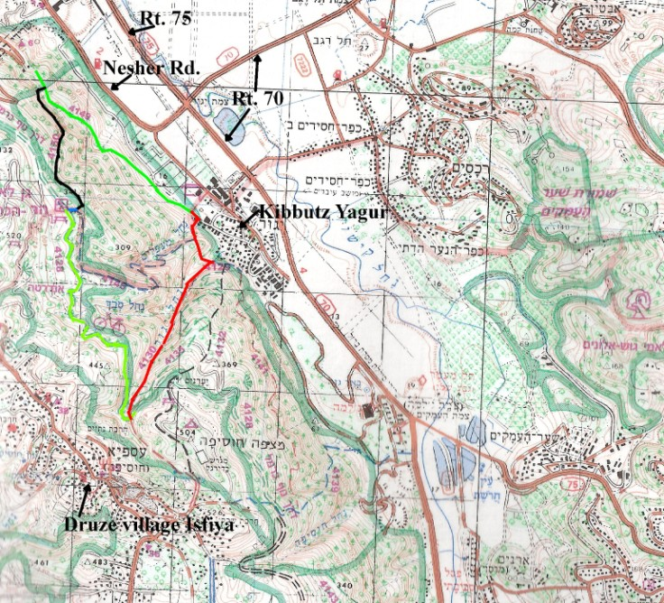 Annotated map of Yagur Loop day hike