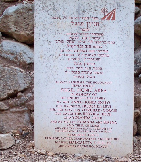 Memorial for the Fogel Family in Martyr's Forest