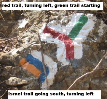 Picture of blazes for Israeli trails