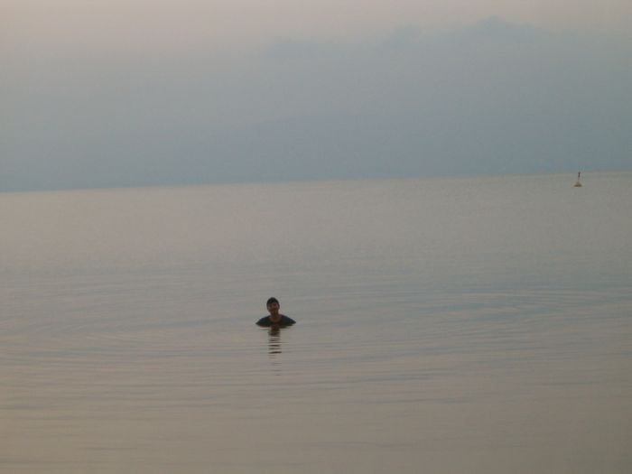 Diana swimming in the Kinneret on the 3rd morning before dawn