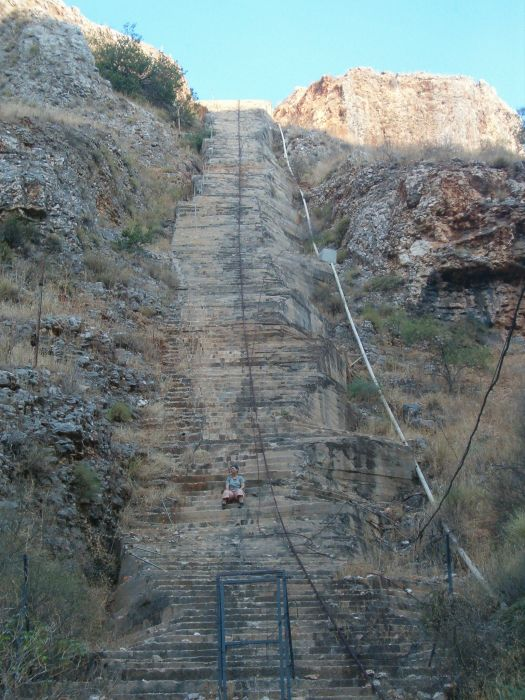 Israel water carrier stair way up the cliffs