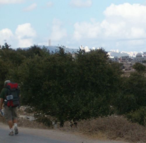 In the distance: the University of Haifa tower on the Carmel mountains